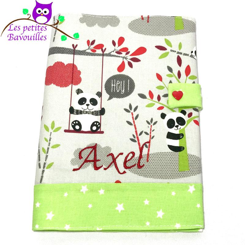 Protège carnet de santé panda brodé Axel