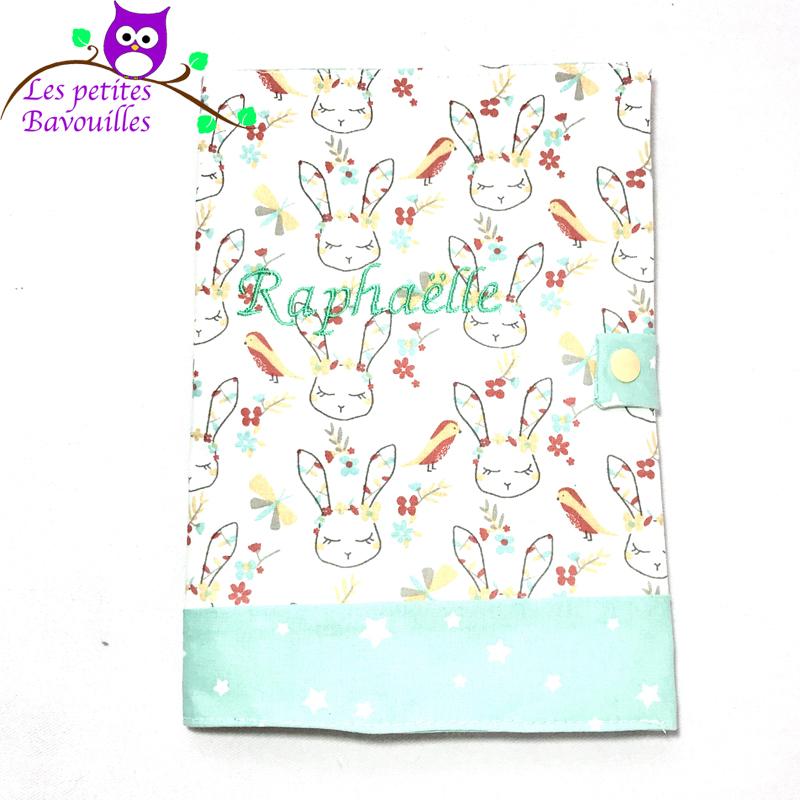 Protège carnet de santé lapin fait main