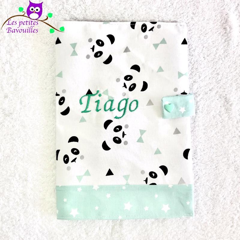 Protège carnet de santé panda Tiago brodé
