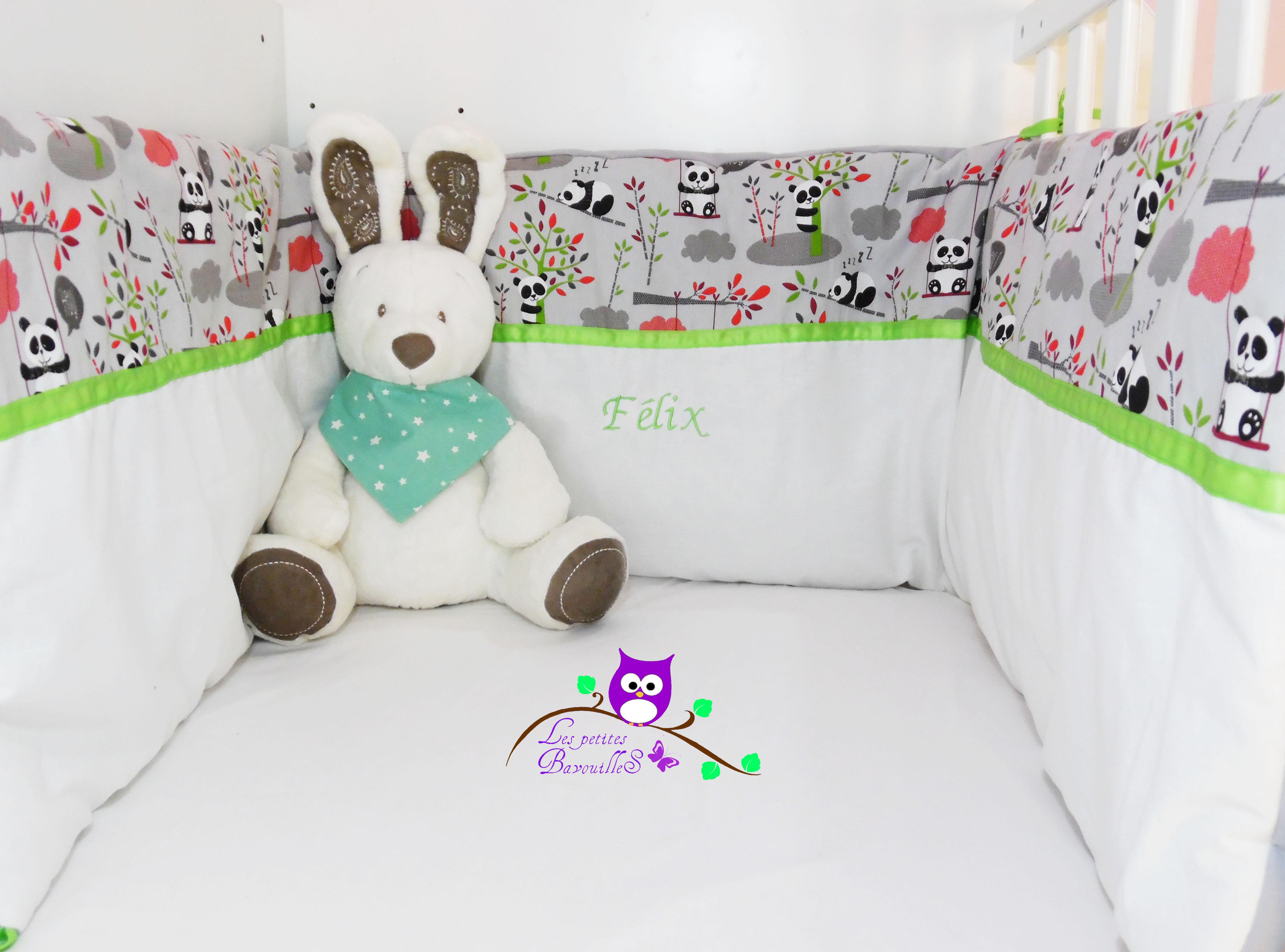 tour de lit panda personnalisé