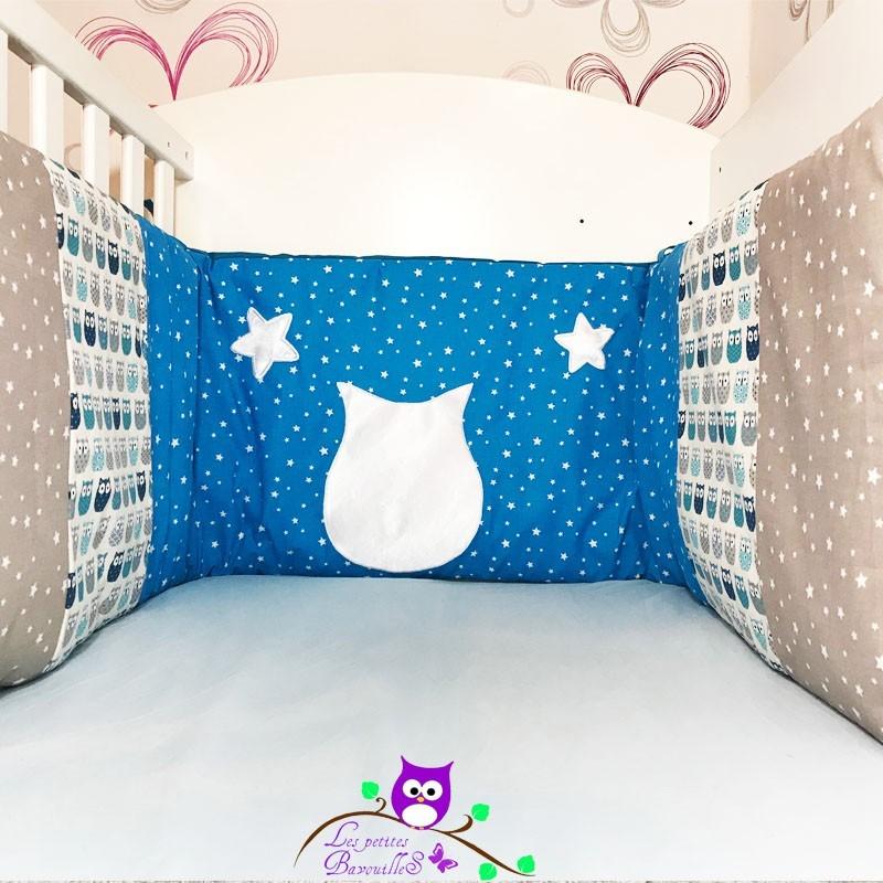 tour de lit couture chouette hiboux bleu fait main